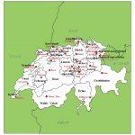 スイスの州と州都の地図